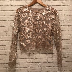 Tops - Long Sleeve Sequin Lace Top